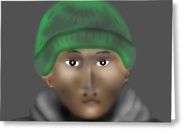 Hoodies Digital Art Greeting Cards - Young Man in Green Hat and Hoodie Greeting Card by Carol Shoemaker