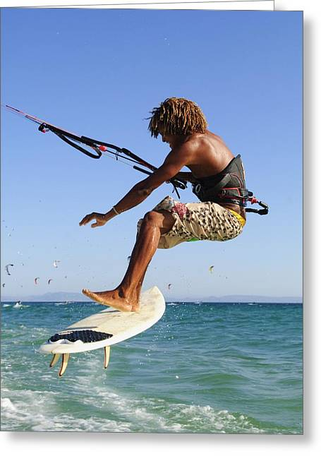 Kite Surfing Greeting Cards - Young Man Kite Surfing Costa De La Greeting Card by Ben Welsh