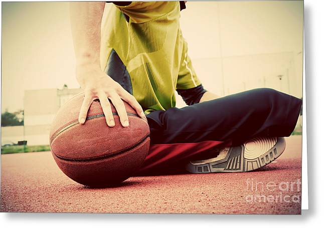 Street Basketball Greeting Cards - Young man on basketball court Greeting Card by Michal Bednarek