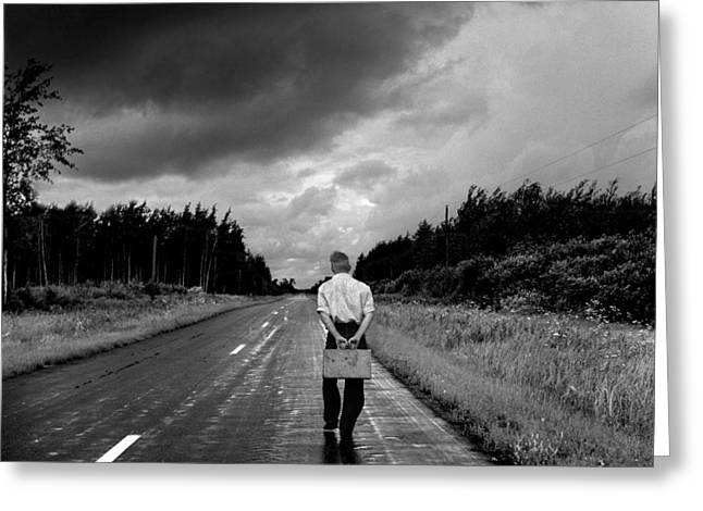 Mid West Landscape Art Greeting Cards - Young Man on the Road Greeting Card by Donald  Erickson