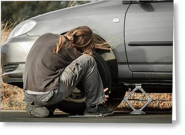 Car Parts Pyrography Greeting Cards - Young man repairing the car Greeting Card by Oliver Sved