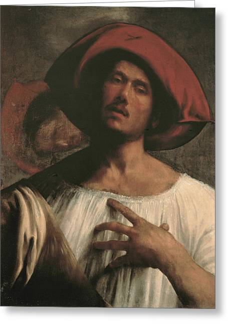 Emotions Greeting Cards - Young Man Singing Greeting Card by Giorgione
