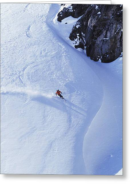 Downhill Skiing Greeting Cards - Young Man Skiing On Ungroomed Slope Greeting Card by Henry Georgi Photography Inc
