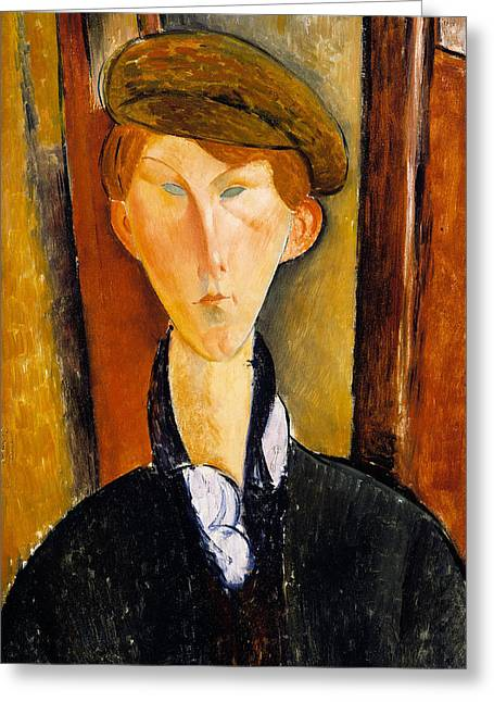Clemente Paintings Greeting Cards - Young man with cap Greeting Card by Amedeo Modigliani