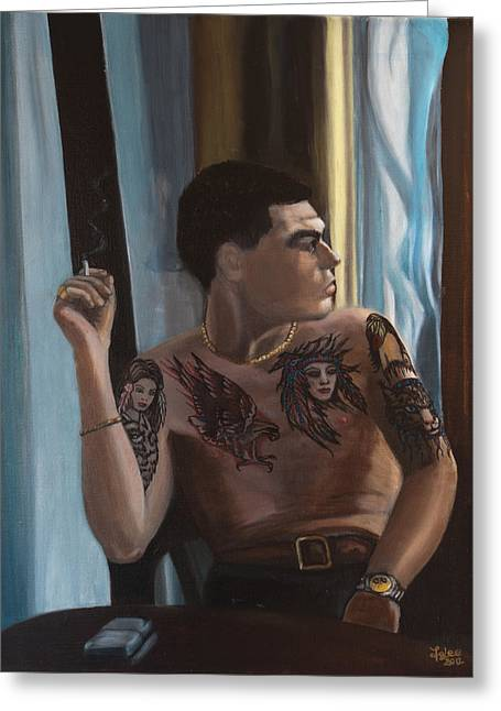 Gold Necklace Greeting Cards - Young man with tattoos Greeting Card by Joanna Lee