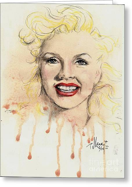 Movie Star Drawings Greeting Cards - young Marilyn Greeting Card by P J Lewis