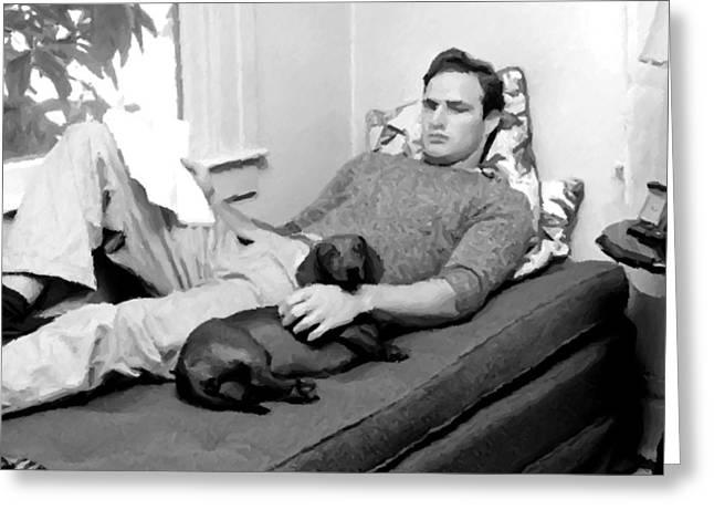 Richard S. Castellano Greeting Cards - Young Marlon Brando Greeting Card by Michael Braham