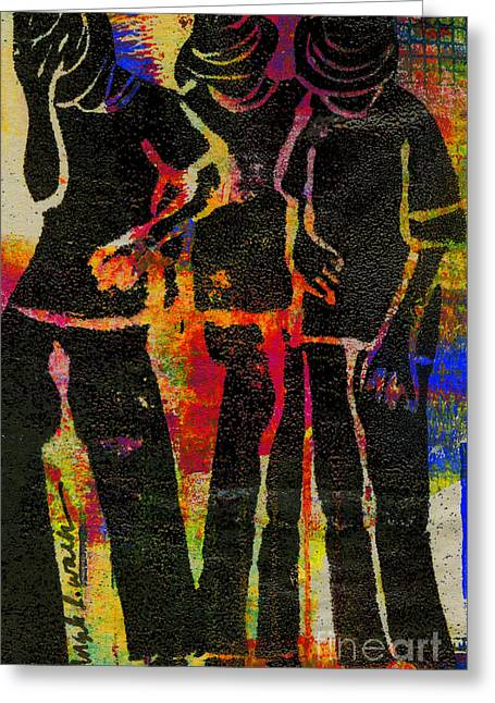Printmaking Greeting Cards - Young Men Greeting Card by Angela L Walker