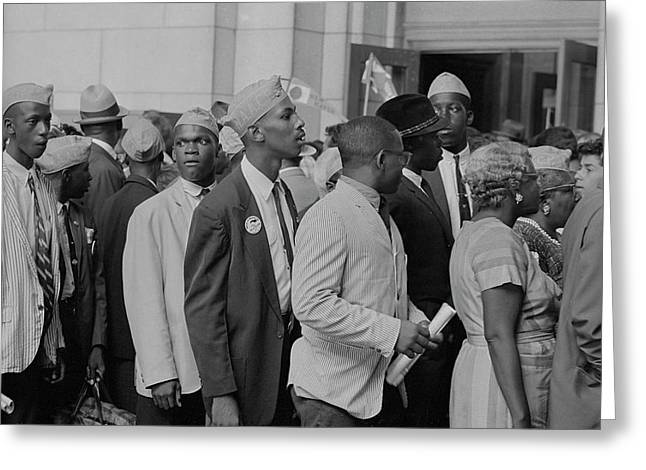 Young Men In Naacp Caps In Front Greeting Card by Stocktrek Images