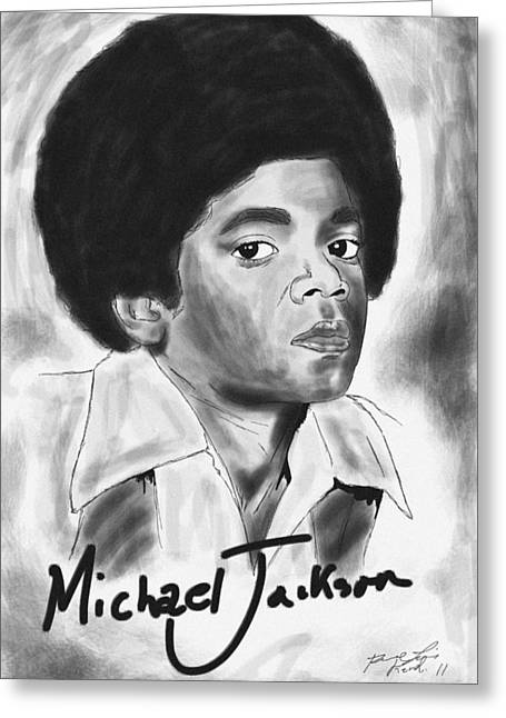 Michael Jackson Sketch Greeting Cards - Young Michael Jackson Greeting Card by Kenal Louis