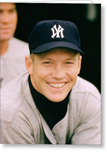 Hall Of Fame Baseball Players Greeting Cards - Mickey Mantle Smile Greeting Card by Retro Images Archive