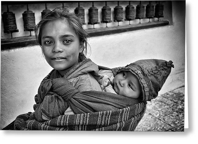 Innocence Greeting Cards - Young mother and child Nepal Greeting Card by Phil Callan Photography
