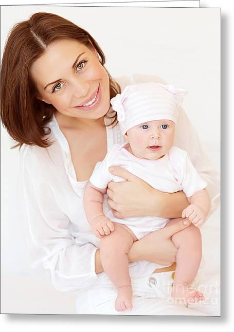 Caring Mother Greeting Cards - Young mother with newborn baby Greeting Card by Anna Omelchenko