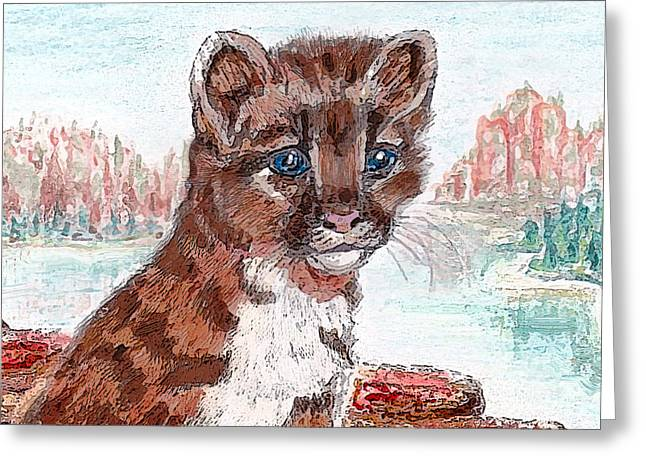 Lioness Greeting Cards - Young Mountain Lion Greeting Card by Michele  Avanti