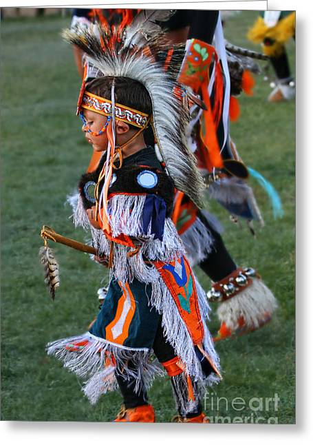 Fancy-dancer Greeting Cards - Young Native Boy in full regalia Greeting Card by Scarlett Images Photography