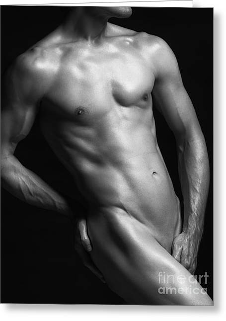 Three-quarter Length Greeting Cards - Young nude man slim fit body black and white Greeting Card by Oleksiy Maksymenko