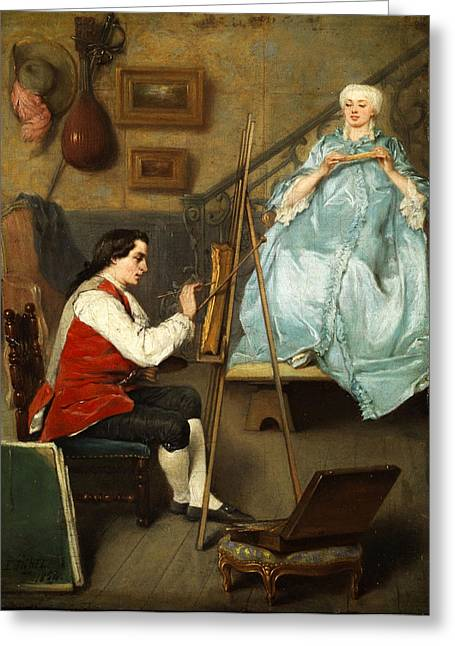 Woman In A Dress Greeting Cards - Young painter portraiting a young woman in a blue silk dress Greeting Card by Eugene Fichel