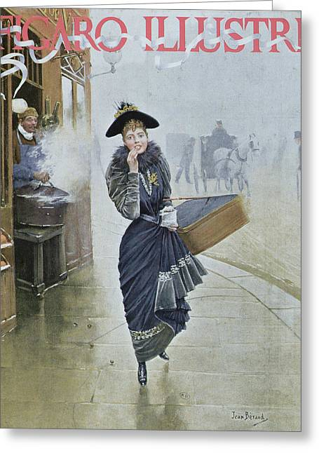 Street Scenes Greeting Cards - Young Parisian Hatmaker Greeting Card by Jean Beraud