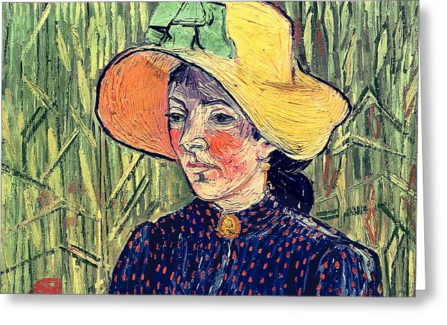 Woman In A Dress Greeting Cards - Young Peasant Girl in a Straw Hat sitting in front of a wheatfield Greeting Card by Vincent van Gogh