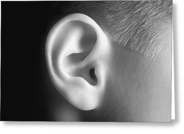 Understand Greeting Cards - Young Persons Ear In Black And White Greeting Card by Don Hammond