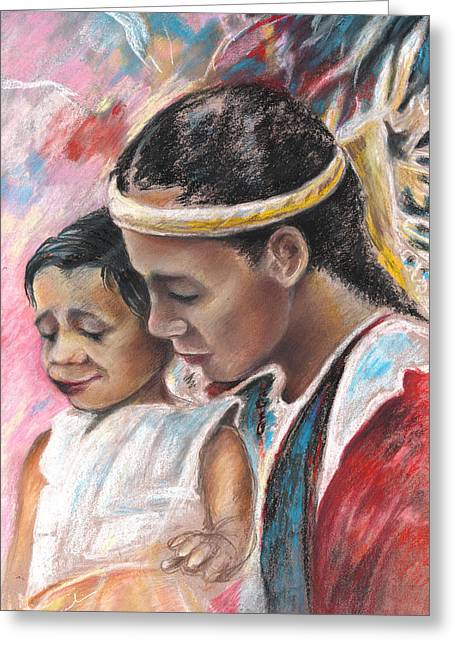 Festivities Drawings Greeting Cards - Young Polynesian Mama with Child Greeting Card by Miki De Goodaboom