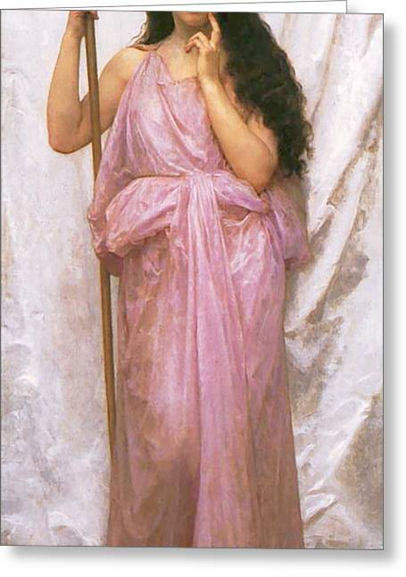 Young Lady Greeting Cards - Young Priestess Greeting Card by William Bouguereau