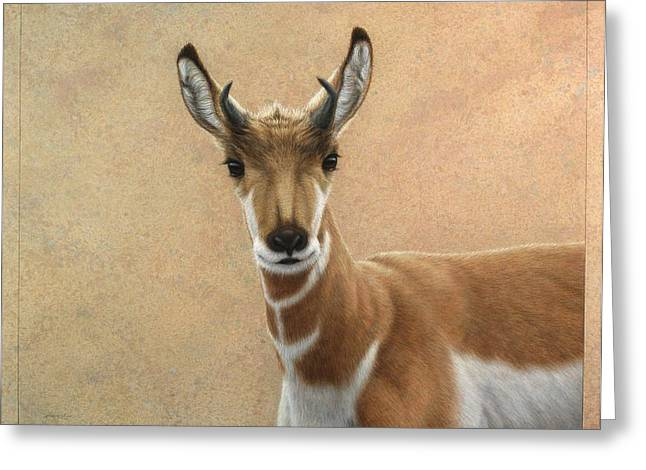Young Drawings Greeting Cards - Young Pronghorn Greeting Card by James W Johnson