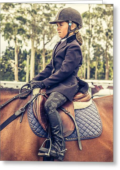Showjumping Greeting Cards - Young Rider Greeting Card by Jackie Bertolli