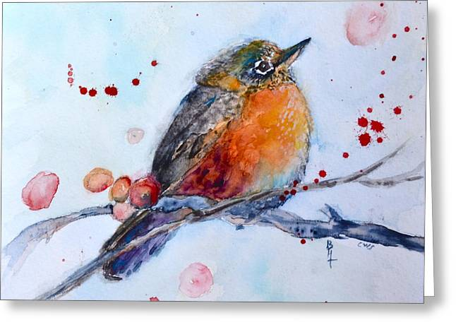 Bht Greeting Cards - Young Robin Greeting Card by Beverley Harper Tinsley