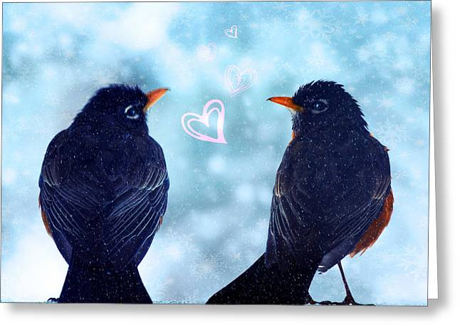 Young Robins In Love Greeting Card by Lisa Knechtel