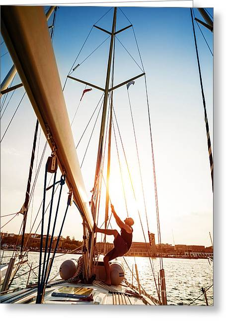Pull Cord Greeting Cards - Young sailor on sailboat Greeting Card by Anna Omelchenko