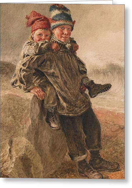 Content Greeting Cards - Young Salts Greeting Card by William Henry Hunt