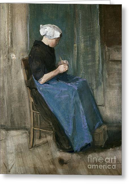 Post-impressionism Greeting Cards - Young Scheveningen Woman Knitting Facing Right Greeting Card by Vincent van Gogh
