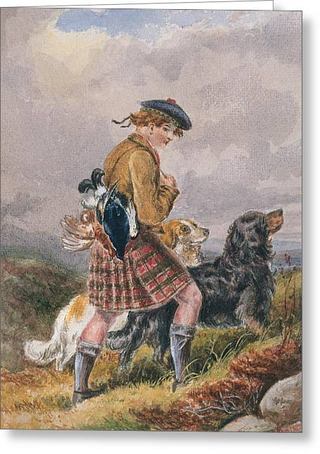 Young Scottish Gamekeeper With Dead Game Greeting Card by English School