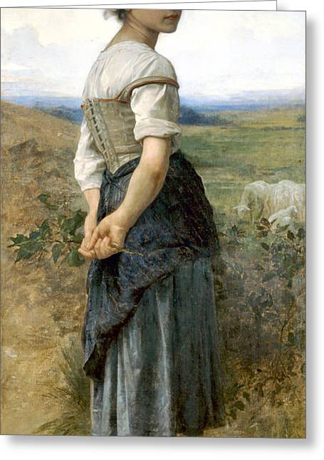 Old Masters Greeting Cards - Young Shepherdess Greeting Card by William Bouguereau