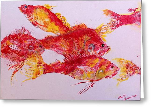 Fish Rubbing Greeting Cards - Young Snapper Family Greeting Card by Phyllis Soderberg