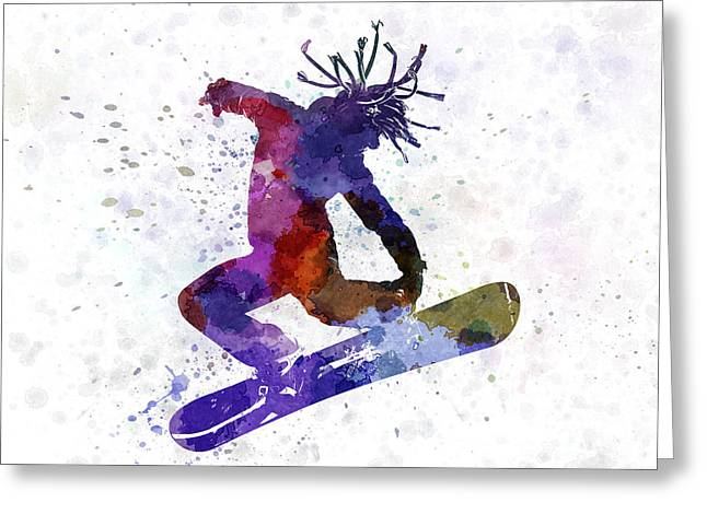 Ski Jumping Greeting Cards - Young Snowboarder Greeting Card by Pablo Romero