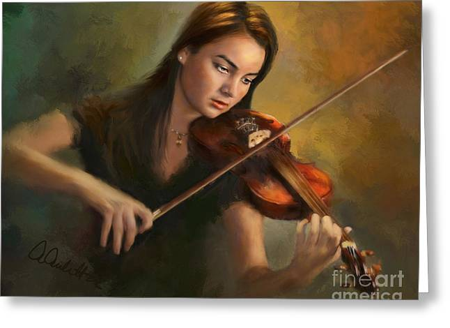 Brahms Greeting Cards - Young Soloist Greeting Card by Andrea Auletta