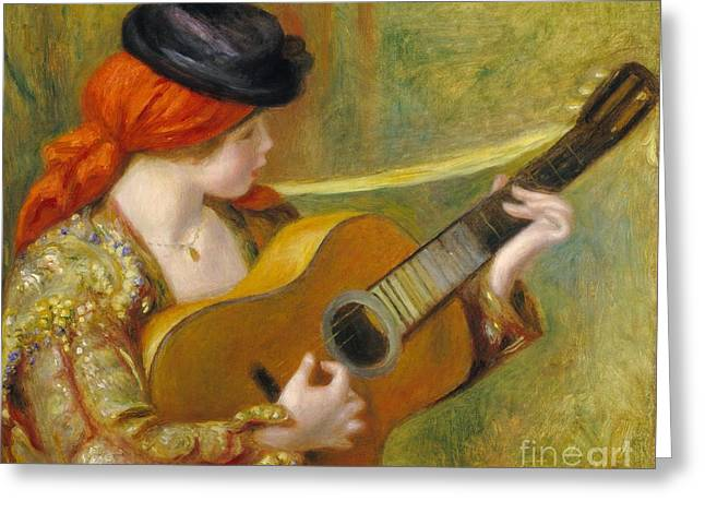 Strumming Greeting Cards - Young Spanish Woman with a Guitar Greeting Card by Pierre Auguste Renoir