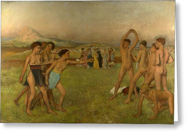 Young Spartans Exercising Greeting Cards - Young Spartans Exercising Greeting Card by Edgar Degas