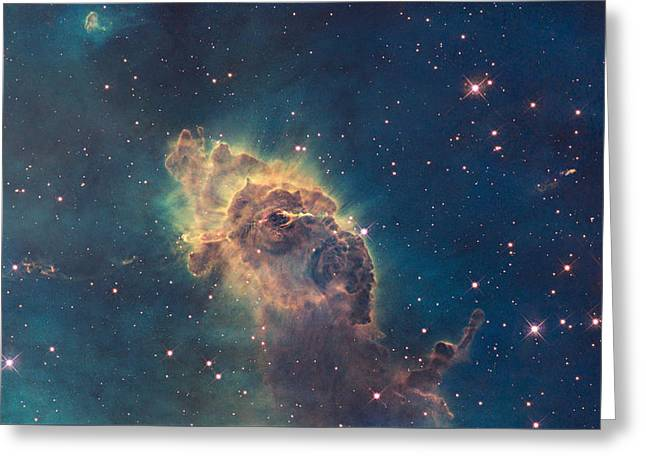 Young Stars Flaring In The Carina Nebula Greeting Card by Celestial Images