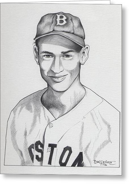 Red Sox Art Greeting Cards - Young Ted Greeting Card by Ben De Soto