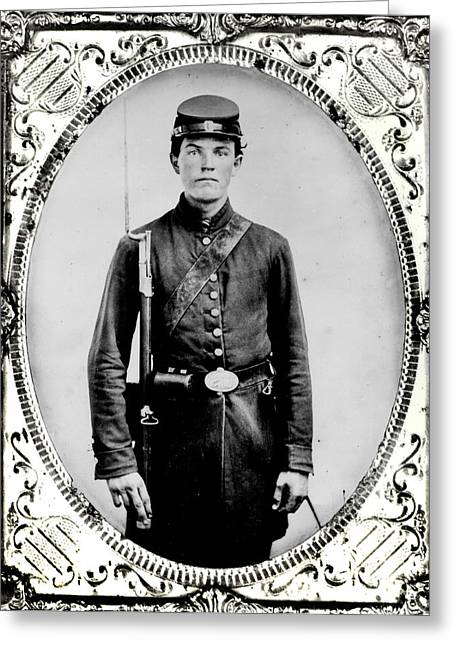 Teenage Photographs Greeting Cards - Young Union Soldier Greeting Card by American School