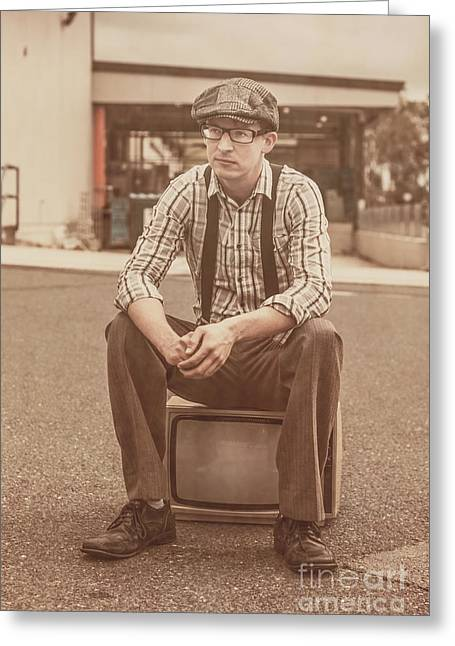 Suspenders Greeting Cards - Young vintage man seated on old tv Greeting Card by Ryan Jorgensen