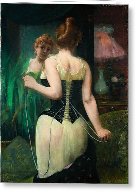 Carrier Greeting Cards - Young woman adjusting her corset Greeting Card by Pierre Carrier-Belleuse