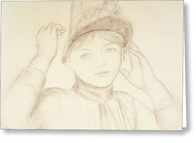 Face Of A Woman Greeting Cards - Young Woman Arranging her Hat Greeting Card by Pierre Auguste Renoir