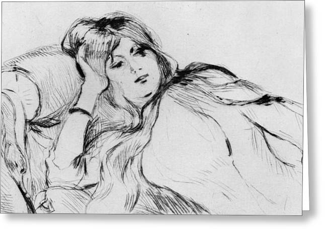 Drypoint Greeting Cards - Young woman at rest Greeting Card by Berthe Morisot