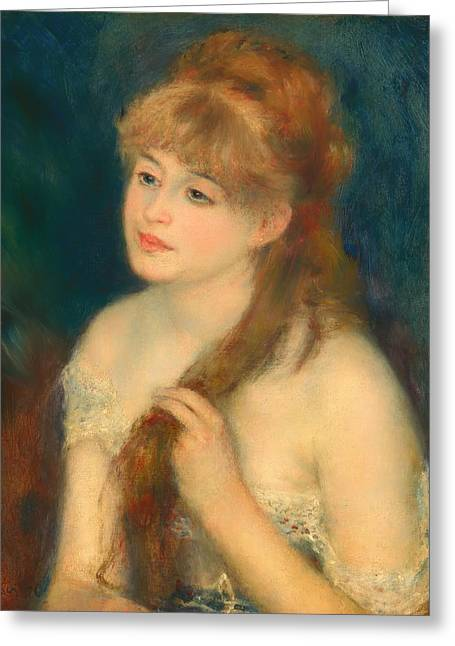 Braiding Greeting Cards - Young Woman Braiding Her Hair Greeting Card by Auguste Renoir