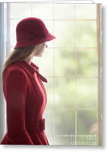 Cloche Hat Greeting Cards - Young Woman By A Window Greeting Card by Lee Avison
