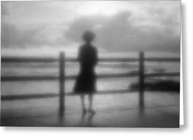 Australia Photographs Greeting Cards - Young Woman by Sea Early Morning Greeting Card by Colin and Linda McKie